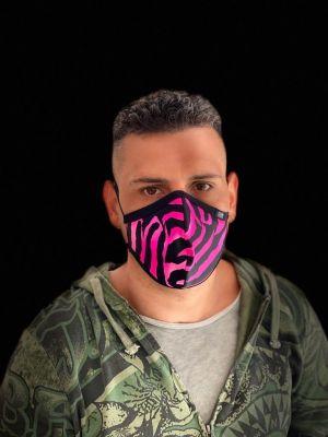 mascherina due strati pink tiger