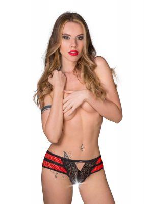 culotte aperta pizzo nero e rete rossa